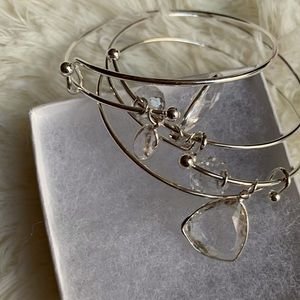 Silver Adjustable bracelet with charms